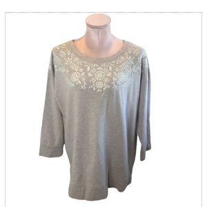 Garnet Hill Embroidered Floral Sweatshirt